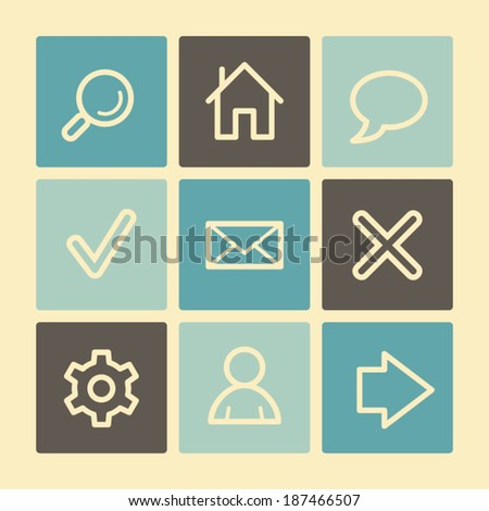 Basic web icons, buttons set - stock vector