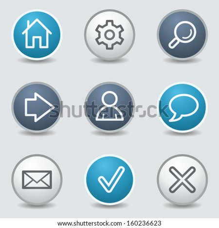 Basic web icons, circle blue buttons - stock vector
