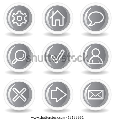 Basic web icons, circle grey glossy buttons - stock vector