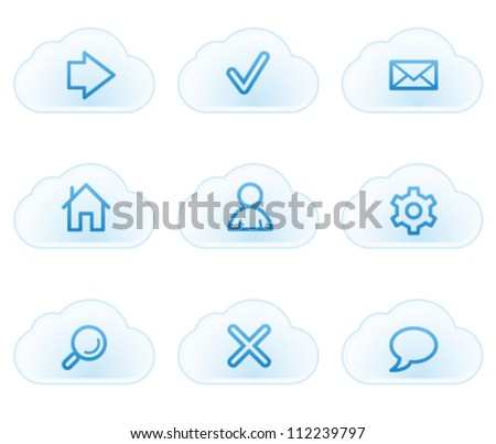 Basic web icons, cloud buttons - stock vector