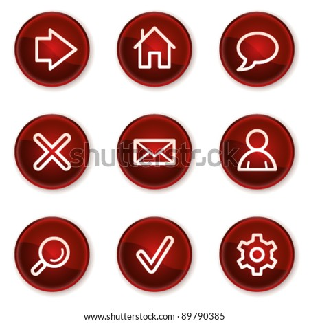 Basic web icons, dark red circle buttons - stock vector