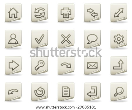Basic web icons, document series - stock vector