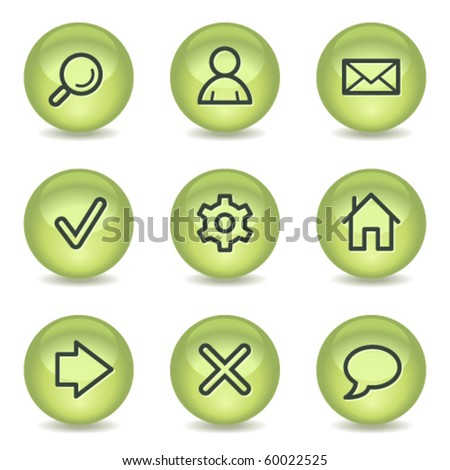 Basic web icons, green glossy circle buttons - stock vector
