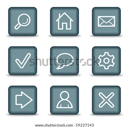 Basic web icons, grey square buttons - stock vector