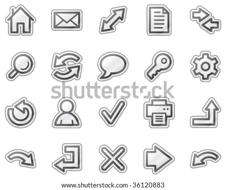 Basic web icons, grey sticker series - stock vector