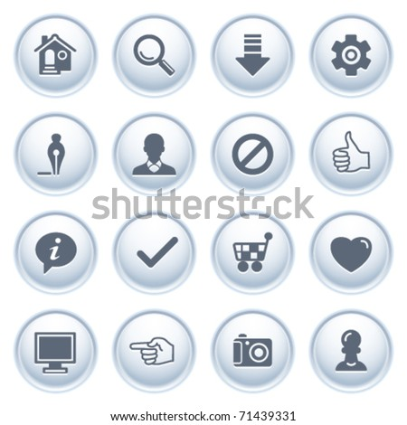 Basic web icons on buttons. - stock vector