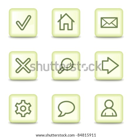 Basic web icons, salad green buttons - stock vector