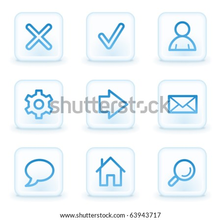 Basic web icons, white square buttons - stock vector