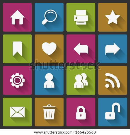 Basic website navigation elements of home back forward and search, squared with long shadows isolated vector illustration - stock vector