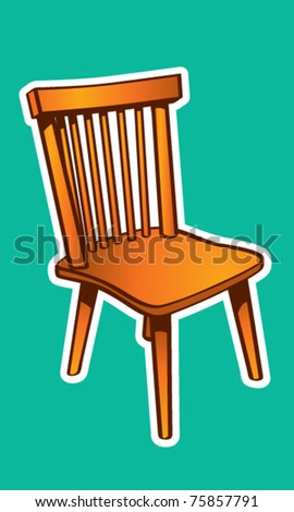 Basic Wood Chair Illustration - stock vector