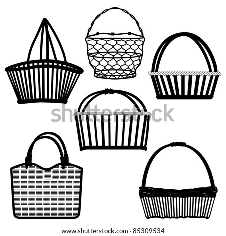 Basket Bag Container Wired Wooden Craft Handmade Old Ancient Traditional Retro Vintage - stock vector