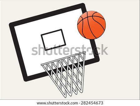 basket ball and net and board on a white background - stock vector