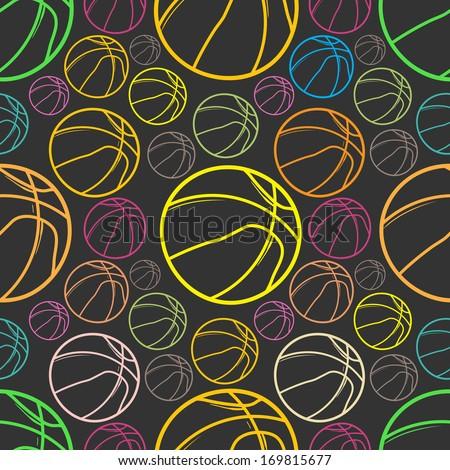 Basket balls sketch Seamless pattern background - sport - Illustration - stock vector