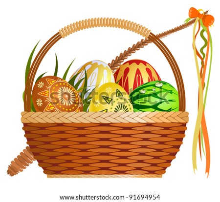 Basket with easter eggs - stock vector