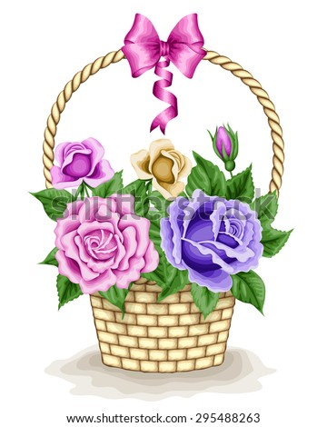 Basket with roses. Hand drawn vector illustration. Can be used for invitation, greeting card - stock vector