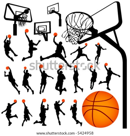 basketball and backboard vector 2 - stock vector