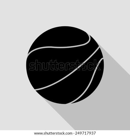 basketball ball icon - black illustration with long shadow - stock vector