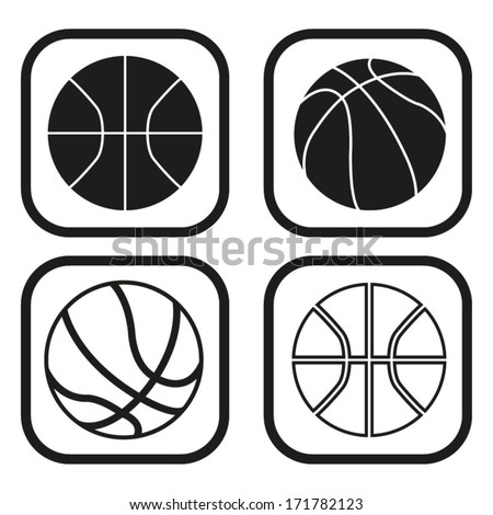 Basketball ball icon - four variations - stock vector