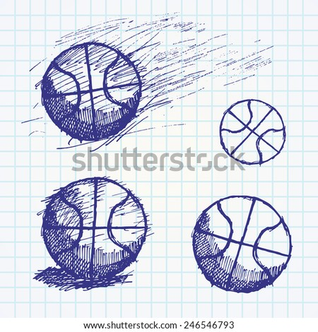 Basketball ball sketch set on paper notebook. - stock vector