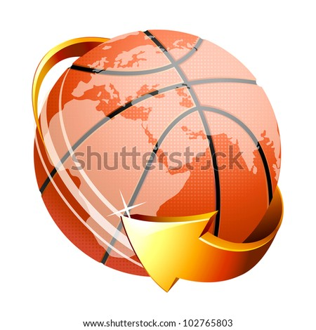 Basketball ball with arrow isolated on white background  . Vector icon . - stock vector