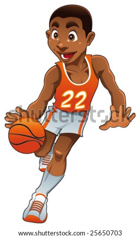 Basketball boy. Funny cartoon and vector isolated character - stock vector