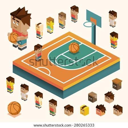 basketball court with team ball.vector illustrator - stock vector
