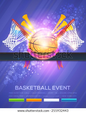 Basketball Event Poster Template Vector Shiny Background - stock vector