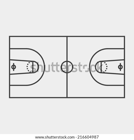 Basketball field. Black and white concept. Outline style. Game field. Use for card, poster, brochure, banner, web design, wallpaper. Easy to edit. Vector illustration - EPS10. - stock vector