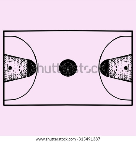 Basketball field, court, top view, doodle style, sketch illustration - stock vector