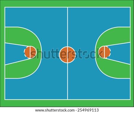 Basketball field vector - stock vector