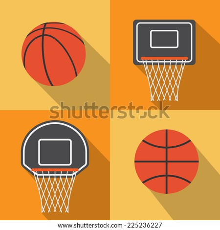 Basketball flat icon with long shadow,vector - stock vector