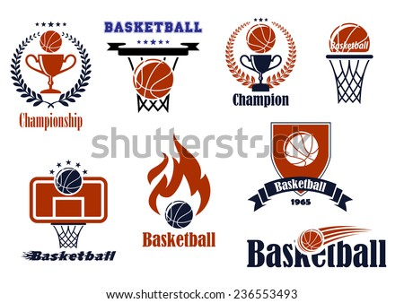 Basketball game emblems and banners set with ball, basket, wreath, ribbon,trophy and fire design elements - stock vector