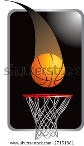 Basketball going through hoop - stock vector