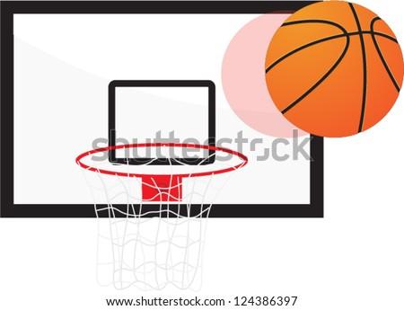 basketball hoop and ball - stock vector