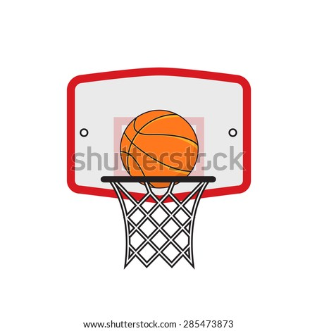 Basketball hoop and orange ball on the white background - stock vector