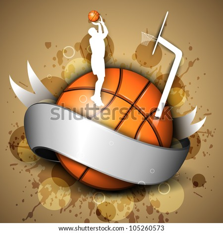 Basketball icon or element with a shiny ribbon, silhouette of a man player practicing with ball and pillar on grungy brown background. EPS 10. - stock vector