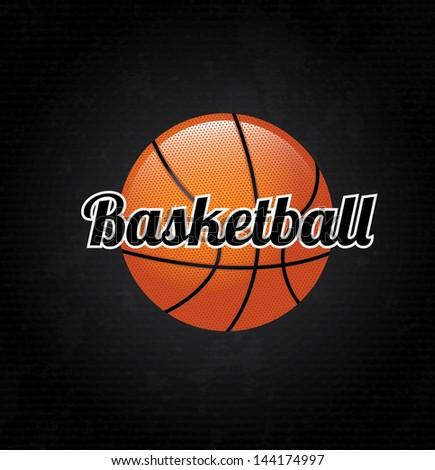 basketball label over black background vector illustration - stock vector