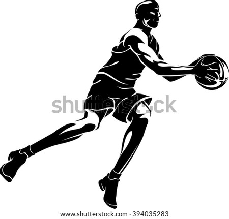 Basketball Mid Air Action - stock vector