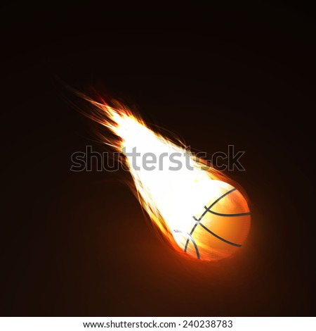 basketball on fire - stock vector