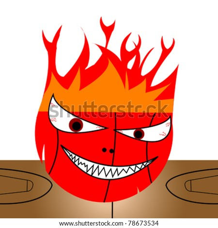 Basketball on fire and court in background - stock vector