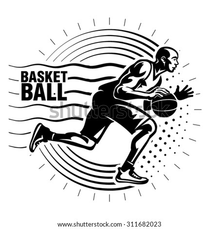Basketball player. Illustration in the engraving style - stock vector