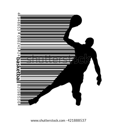 Basketball player in a barcode style. Text on a separate layer, color can be changed in one click - stock vector
