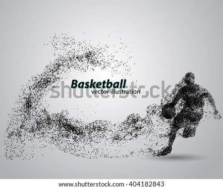 Basketball player of Particle. Background and text on a separate layer, color can be changed in one click - stock vector