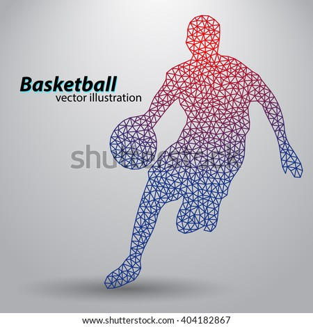 Basketball player of the triangles. Background and text on a separate layer, color can be changed in one click - stock vector