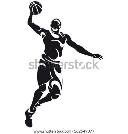basketball player, silhouette - stock vector