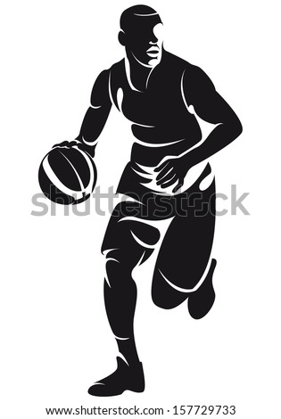 Basketball player with ball, silhouette - stock vector