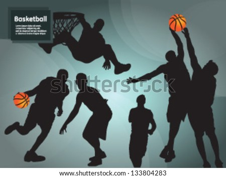 Basketball Players on creative on a blue background - stock vector