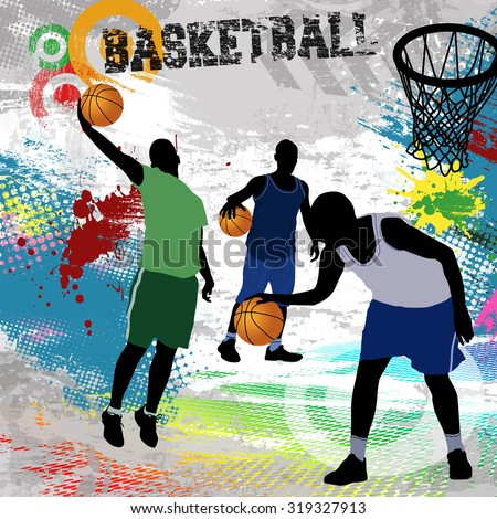 Basketball players playing on abstract grunge background, vector illustration - stock vector
