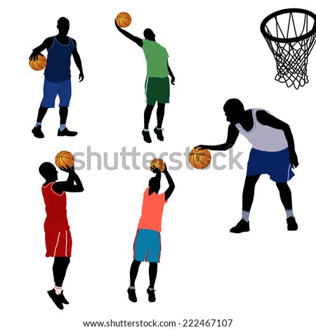 Basketball players silhouette in different positions on white background, vector illustration - stock vector
