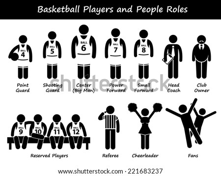 Basketball Players Team Stick Figure Pictogram Icons - stock vector